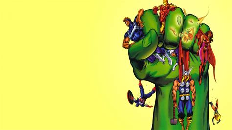 fist marvel comics  avengers yellow background
