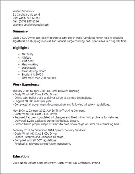 Class B Truck Driver Cover Letter by Professional Class B Cdl Driver Templates To Showcase Your Talent Myperfectresume