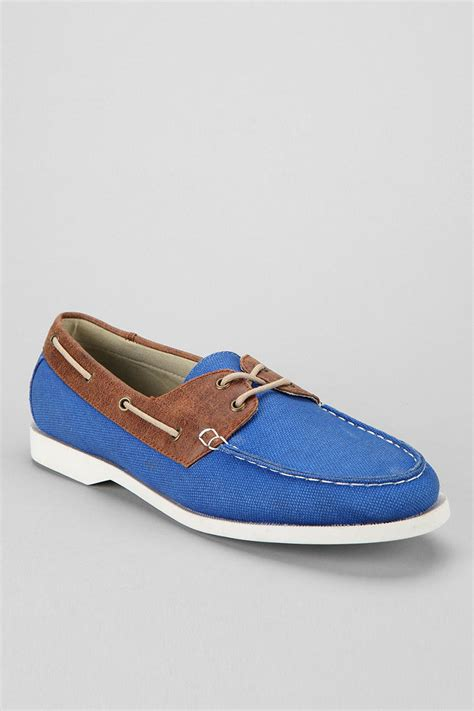 outfitters anchor canvas boat shoe in blue for
