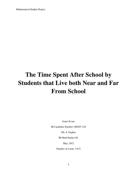 Extended Essay Title Page Exle by Math Ia