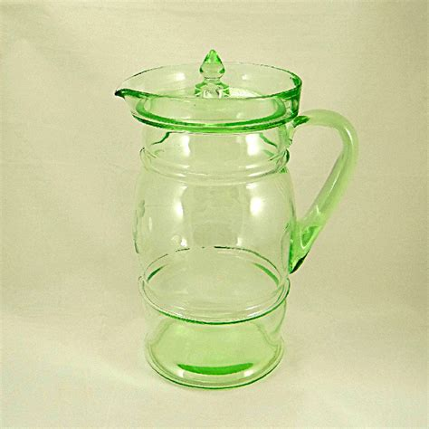 glass pitcher with lid dunbar glass water pitcher with lid green depression glassware
