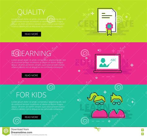 app design qualifications quality e learning for kids vector banners template set