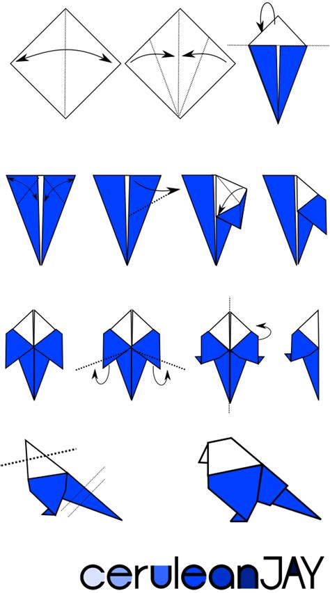 Origami Bird Tutorial - ceruleanjay origami blue tutorial