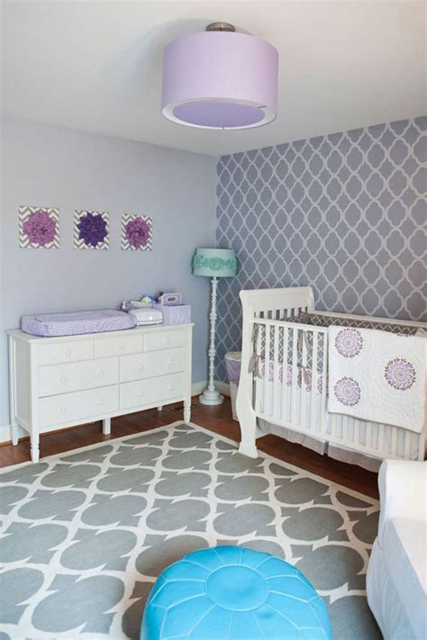 purple baby nursery room decoration