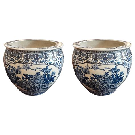 Fish Bowl Planters by Pair Of Blue And White Fish Bowl Planters For Sale