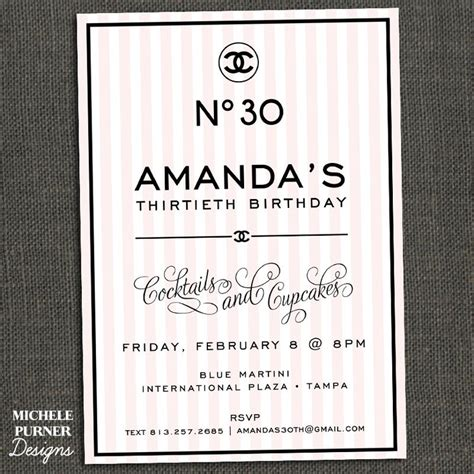 Chanel Inspired Birthday Party Invitation Party Ideas Pinterest Bags Birthdays And Chanel Chanel Invitation Template