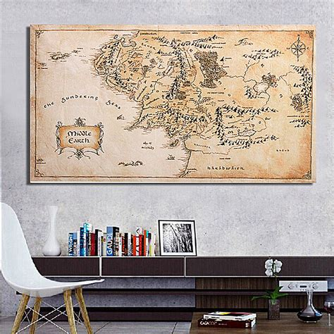 lord of the rings home decor 110x60cm map of middle earth lord of the rings silk cloth