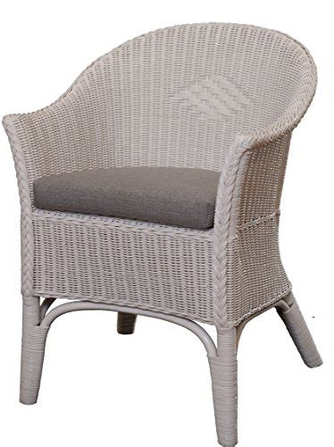 rattan sessel natur in der farbe weiss inkl polster grau