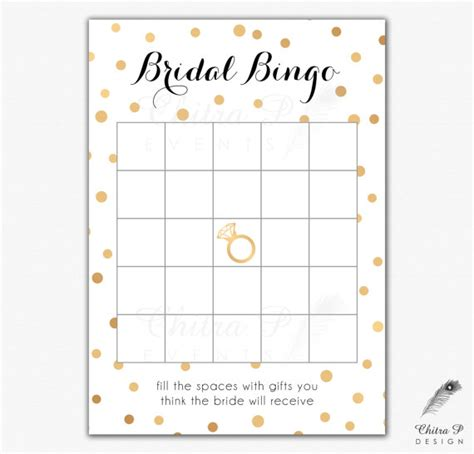 black gold bridal shower bingo cards printed or printable