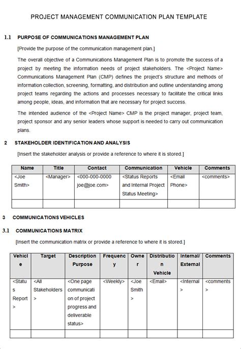 project management communications plan template communication plan project management template templates
