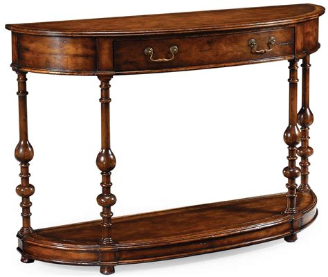 Walnut Demilune Console Table In Medium Walnut Walnut Sofa Table