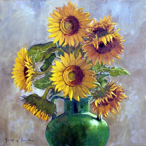 Sunflowers In Vase by Sunflowers In A Vase Provence Paintings Geoffrey Smith