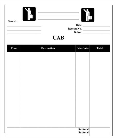 blank cab receipt template 5 sle taxi receipt templates free sle exle