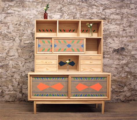 unusual wooden furniture  bright geometric patterns