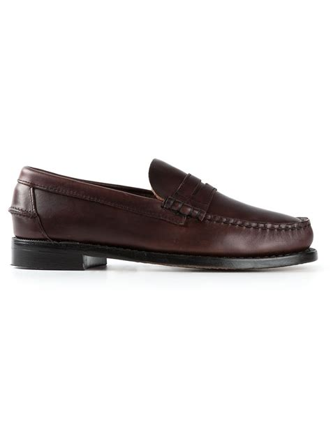 classic loafers sebago classic loafers in brown for lyst