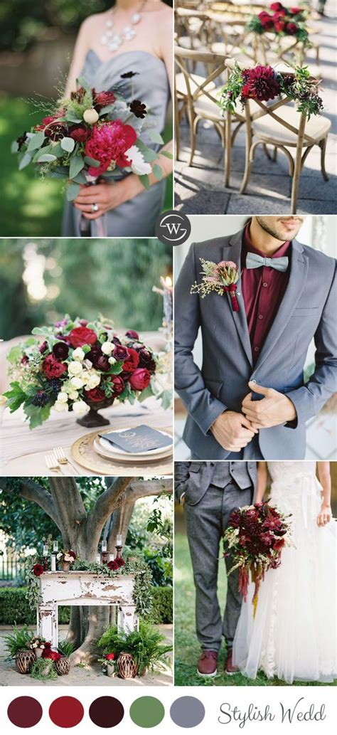 Burgundy And Grey Spring And Summer Wedding Colors Wedding Food