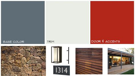 modern house color palette mid century home exterior mood board midcentury paint