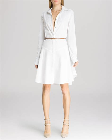 dress structured belted shirt in white lyst