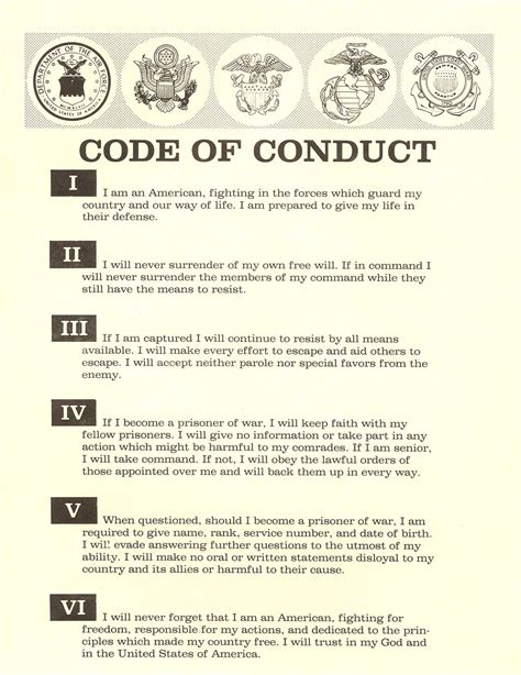 The United States Military Code Of Conduct Vendor Code Of Conduct Template