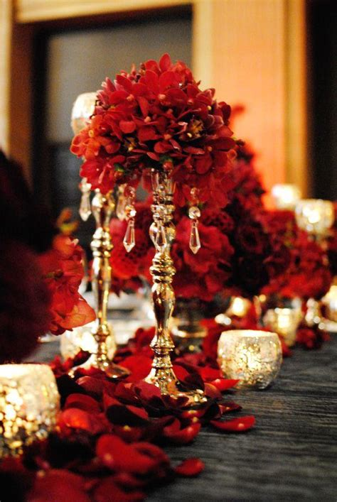 Dining Room 7 Piece Sets by Red Wedding Red And Gold Centerpiece 2070182 Weddbook