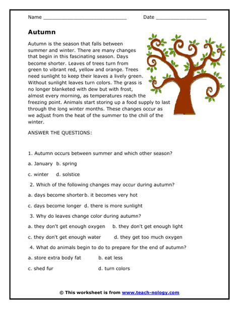 Easy Reading Comprehension Worksheets by Autumn Reading Passage
