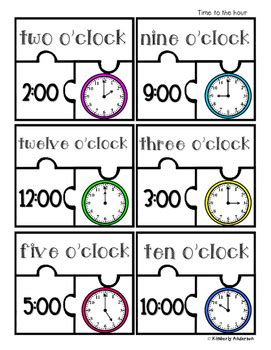 printable clock puzzle telling time puzzles time to the hour half hour