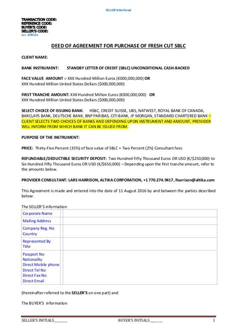 Credit Purchase Agreement Template Deed Of Agreement Purchase Sblc 35 2 Rwa Payment Guarantee Security D