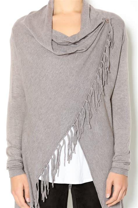fringed sweater william b asymmetrical fringe sweater from los angeles by