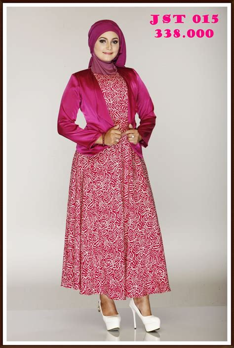gamis jas dengan dress motif serasi simple dan exclusive gamis muslim exclusive
