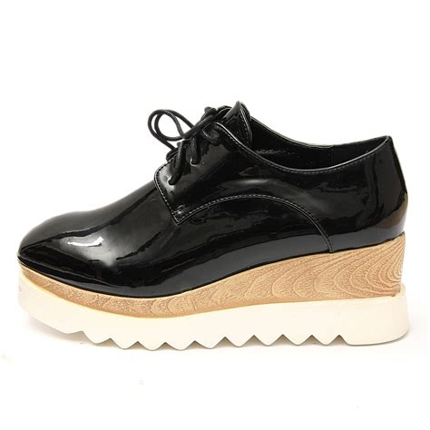 oxford creepers shoes lace up wedge creepers mid heel platform flat brogue