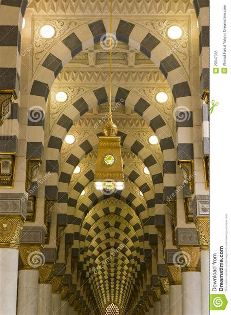 interior  masjid mosque nabawi  medina stock image