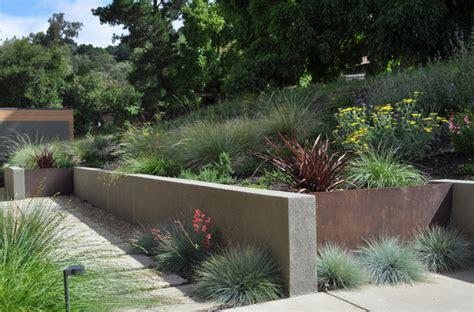 modern garden wall steel and stucco walls modern landscape san