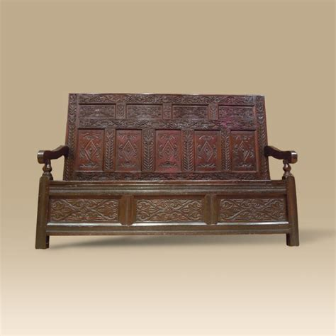 What Is Period Furniture by Period Oak Settle Profusely Carved Dated 1674 With