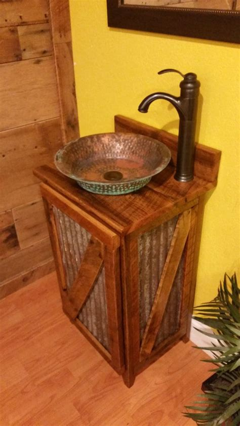cheap kitchen sinks and faucets rustic vessel sinks cheap rustic barn wood and weathered tin vanity with hammered