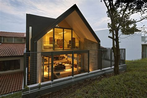 Gable Style House Gabled Roof Jazzes Up Minimalist Y House In Singapore