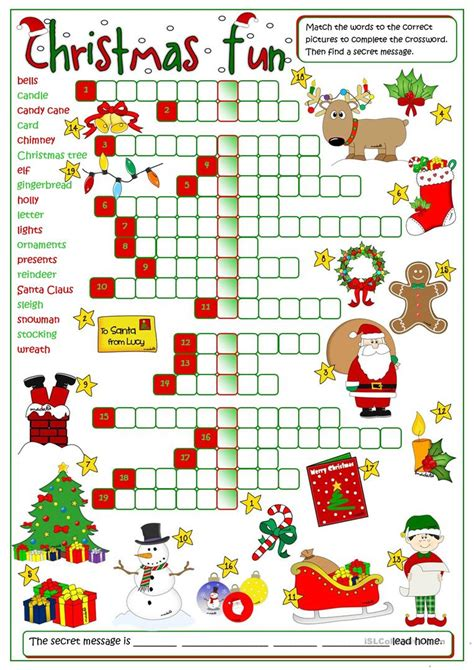 best christmas puzzles and answers crossword worksheet free esl printable worksheets made by teachers