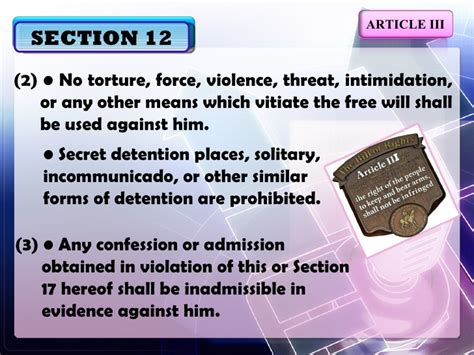 article 3 bill of rights section 6 explanation article iii sections11 16