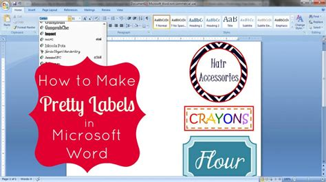 Word Printing Labels How To Make Pretty Labels In Microsoft Word Microsoft