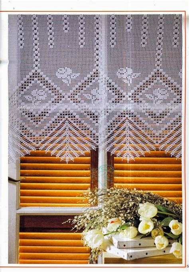 cortina tejida al crochet  diagrama  patrones crochet  dos agujas patrones de tejido