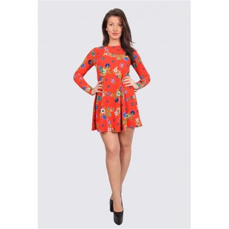long sleeve swing dress uk una orange floral long sleeve swing dress parisia fashion