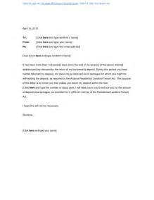 well sample security deposit refund letter letter format