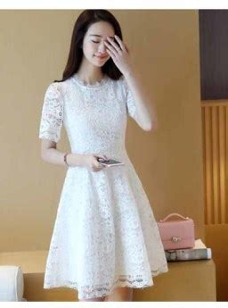 Ird Mini Dress Selutut Allsize dress lengan pendek brokat putih terbaru jual model
