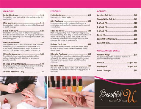 Nail Salon Services nail salon services menu lapeer salon beautiful u salon spa