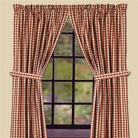 heritage house curtains heritage house barn red check lined curtains 72wx63l