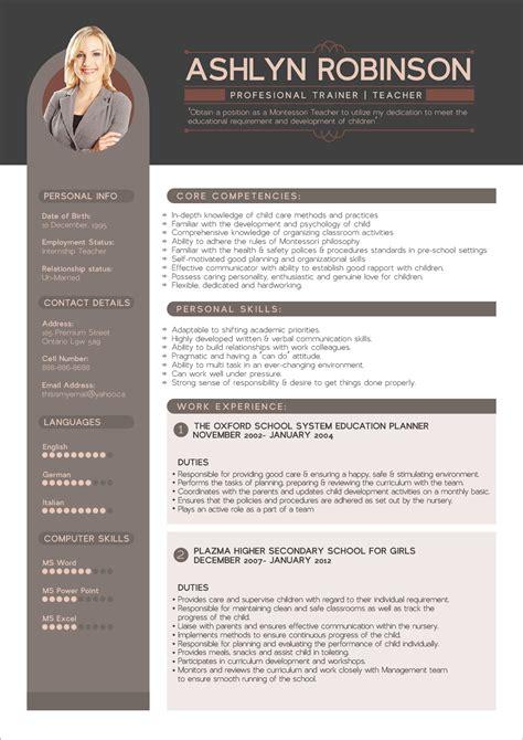 resume cv design template  trainers teachers