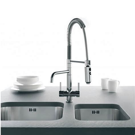 Osmio Azzurra Breve Brushed Chrome 3 Way (Tri flow) Kitchen Tap Spray Hose