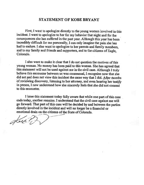 Bryant Acceptance Letter One Of S Greatest 42 6 5 On 56 Shooting Just Hours Before A Pretrial Hearing In