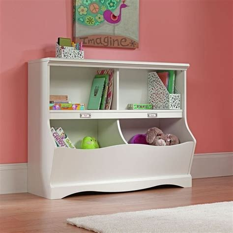 Kids Cubby Storage Box Bookcase Bin Toy Organizer Table Childrens White Bookcase