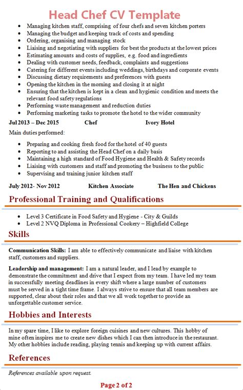 head chef cv template 2