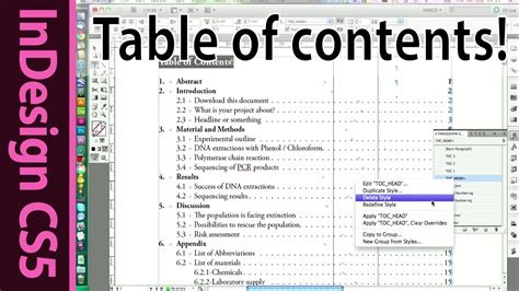 indesign table of contents for text documents cs5